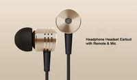 Original Gold XIAOMI 2nd Piston Earphone 2 II Headphone Headset 6 Earbuds with Remote & Mic For MI4 MI3 MI2 MI2S MI2A Mi1 Phone