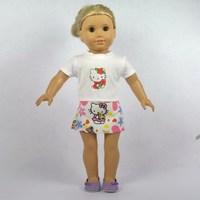 "Doll Clothes For 18"" American Girl Doll, Doll Dress, White T-Shirt  + Skirt, 2pcs, Girl Birthday Present, Xmas Gift, A15"