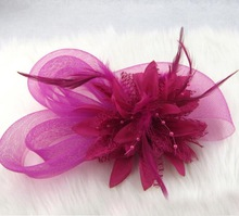 100pcs lot Wedding Bride Hair Accessories Feather Flower Mesh Headwear Marriage Party Ladies Hairband jt109