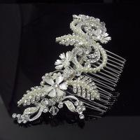 Wedding Hair Accessories Bridal Headwear Crystal Hair Jewelry Vintage Bridal Hair Comb Pearl Hair Ornament 2014 New WIGO0343