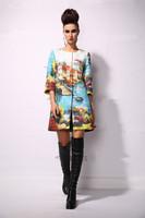 New 2014 women ladies autumn winter fashion trench coat vintage print Windbreaker high street overcoat outwear 4XL D1698