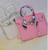 35CM H france brand woman bags fashion 2014 designers large silver lock tote bag buckle shoulder bag with scarf bolsa feminina