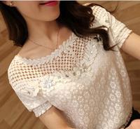 New 2014 summer lace blouse Women Short -sleeved tops chiffon shirt lace blouse small shirt female lace chiffon shirt