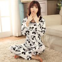 2014 autumn winter fashion slim long sleeve pajama women casual cute mouse character cutton O-Neck sleepwear nightgown pyjamas