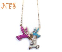 Brand texture flash  necklace three-color birds necklace ,drip bird necklace free shipping