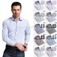 Spring autumn New style Mens shirt Long sleeve fine plaid brand dress shirt men Business man casual shirts for men plus size