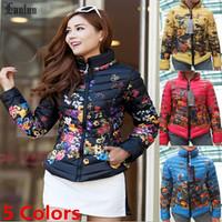 Lanluu 2014 New Brand Design Popular Flower Printed Thicken Winter Down Coats Women Jacket SQ955