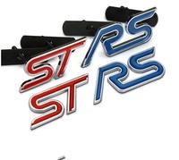 Free shipping Car 3D Metal Front Grille ST/RS Emblem Badge car Rennsport 3D Logo ST RS car sticker for focus RS/ST car sticker