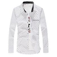 2014 New Autumn Fashion New Long Sleeve Shirts Men,Beautiful Love Small Polka Dot,Outerwear Casual Shirts Men,Drop&Free Shipping