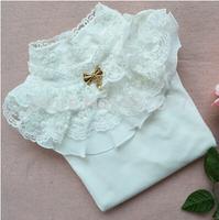 white pink 3T~12 Girls Spring Autumn school shirt lace collar Princess T shirt long sleeve girl tees