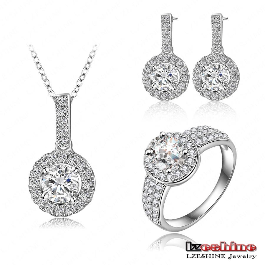 Marca de luxo conjunto de jóias Platinum banhado Micro Inlay suíço Cubic Zirconia pingente / anel / brincos Set para as mulheres da moda CST0026-B(China (Mainland))