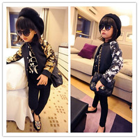 Hu sunshine wholesale new 2015 spring girls golden silver red sequined baseball jersey jacket fashion button coat