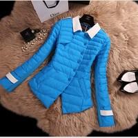 2014 new women 100% quality stitching Slim thin white duck down winter jacket women short paragraph