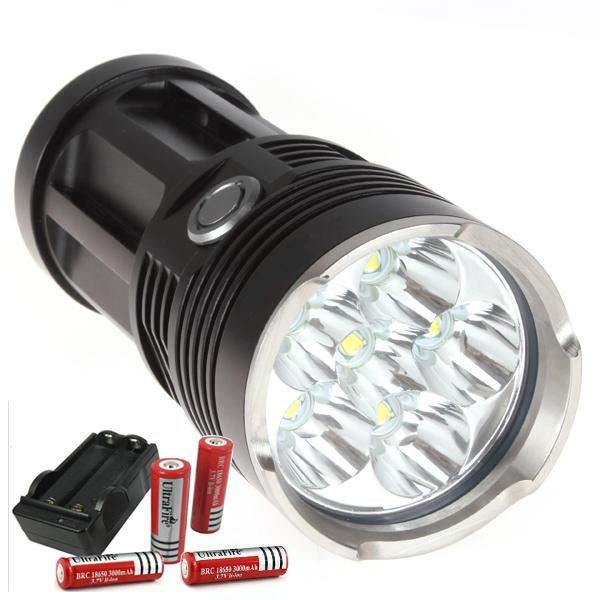 Фонарик CrazyFire LED 9000 6 * CREE Xm/l T6 IPX6 4 X 18650 HZFL00056 фара для велосипеда fenix bc30 cree xm l t6 nw cr123a 18650 mtb