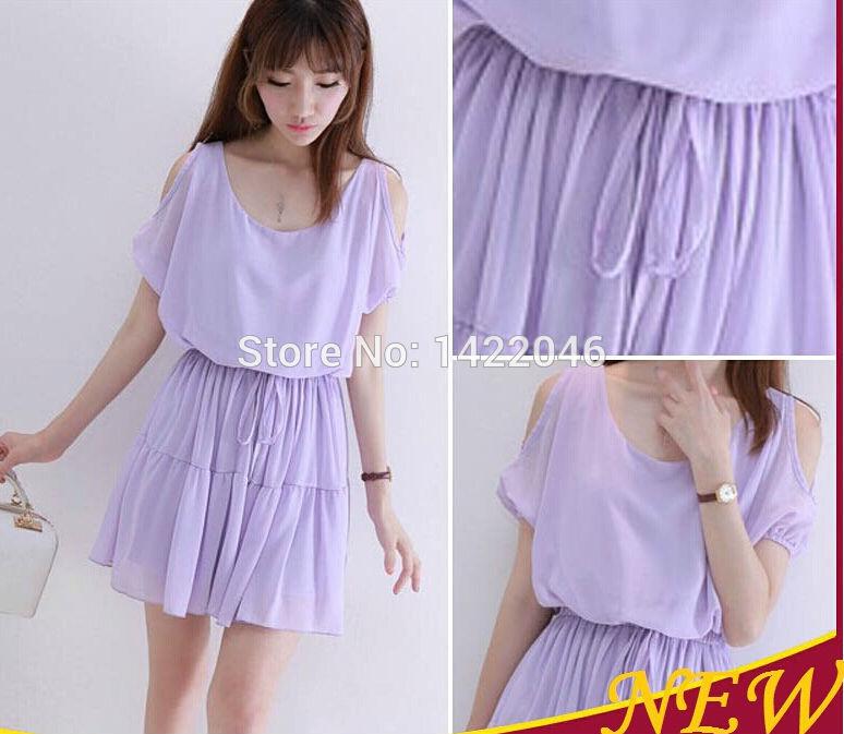 fashion elegant summer women pleated casual dress korea short-sleeve purple high quality chiffon dresses size M L WDRoo15(China (Mainland))