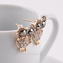 New 2015 Gold Crystal Earrings Lovely Owl Stud Earrings for Women Jewelry Pendientes Brincos 1pcs Free
