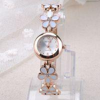Womens Girls Chic Fashion Daisies Flower Rose Golden Bracelet Wrist Watch ZMPJ078