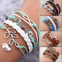 Hot Sale Fashion Vintage Bird Tree Owls Infinity Anchors Rudder Rope Bracelet Wrap Leather Bracelet Multilayer bracelets bangles