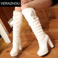 2015 Autumn Winter Martin boots Rhinestone Crow Heart Tall Fold Plus gross Shoes-woman Leather High heel boot shoes Platform