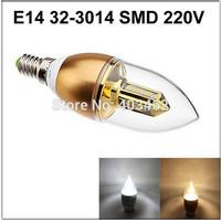 Free Shipping E14 32 led SMD 3014 3W AC DC 110v 220V Candle spotlight bulb gold chandelier lighting white /warm white
