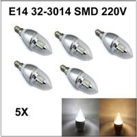 5pcs/lot E14 32-3014 SMD 3W AC DC 110v 220V Candle spotlight bulb Silver chandelier lighting white /warm white