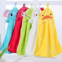Free shipping cartoon coral velvet hanging super absorbent towel small towel Bathroom Kitchen  can hang handkerchief