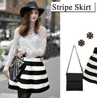 Ladies Retro Vintage Skirt New 2015 Spring Autumn Winter Sexy Women Stitching Striped Mini Short Bubble Skirts Saias