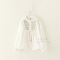 Children Autumn 2014 Shirts Baby Girls Long Sleeve Brand Clothing Cotton Casual Kids Clothes Lot Wholesale 5pcs