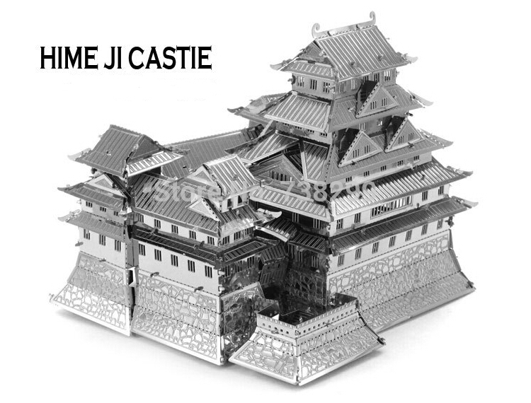 Himeji Castle Miniature 3D Metal Model Puzzle 3D Model Building Kits Puzzle 3D Solid Jigsaw Puzzle 1:1000+ Scale Model Building(China (Mainland))
