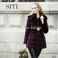 SITI 2014 Newest Fashion Brand Women Velvet bow long down jacket 14DC014