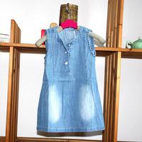 wholesale(5pcs/lot)-child girl lrs-031 summer sleeves demin dress
