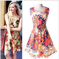 2015 spring summer autumn new Korean Women casual Bohemian floral leopard sleeveless vest printed beach chiffon dress