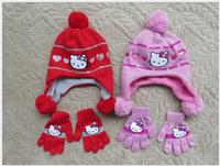 free shipping !!!  Retail  baby girls 2014 winter cartoon Hello Kitty polar fleece knitted hats gloves