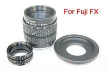 35mm f/1.7 CCTV Lens for Fuji FX + C Mount to Fuji FX adapter +2 Macro Rings