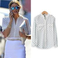2015 Fashion Women's Spring Autumn White Blouse Long Sleeve Casual Shirt Polka Dot Print Shirt Plus Size Tops Blusas Femininas