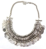 2014 New Vintage Style Silver Carving Flower Letter Round Coin Tassels Choker Shourouk Necklace False Collar for women  XL-338