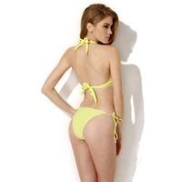 2014 New hot Sexy Royal Yellow Add-2-Cups Halter Top Bikini Swimwear Free Shipping