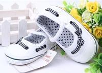0-1 new baby toddler shoes cotton non-slip bottom soft bottom dot bow princess canvas shoes prewalker outdoors calcados de bebe