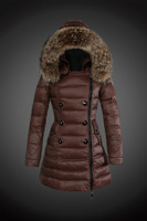 2015 New Arrival Winter Jacket Women Down Coat Brand Big Fur Hood Women Down Jacket Brown KhakiBlack Top quality Lady Down Parka