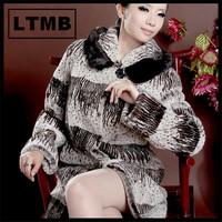 2014 fashion style women striped rex rabbit fur coat with mink fur collar hem