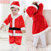 HOT SELLING NEW 4 Piece Pleuche Santa Suit Set Children Christmas Santa Claus Costume One Size Fit 0-3 years old boys
