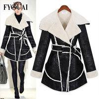FYOUAI European Style Wool Coat For Women With Belt New 2014 Turn-Down Collar Fashion Slim Winter Jacket Women Casual Coat