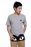 Free Shipping 2014 new sale Top quality COMME Des GARCONS CDG PLAY Heart-shaped Print t shirt plus size 100% cotton 100% cotton