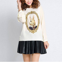 Hot Sale Adorable Chiffon Blouse Pearl Decoration Rabbit Printed Women Shirt Long Sleeve O-Neck Tops AD141