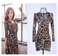 New Leopard Dress V-Neck Wrap Sexy Dress Club Wear Long Sleeve Dresses Women
