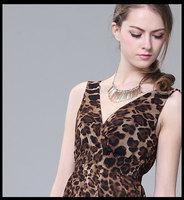 Summer leopard print low-high front short and back long design chiffon full dress clothing, female asymmetrical dress