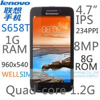 Original Lenovo S658T Multi language Mobile phone 4.7IPS 960x540 MT6582T Quadcore1.2G 1GRAM 8GROM Android4.2 8MP