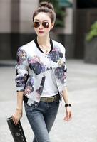 Hot!!! Fall Jackets for Women O-Neck Floral Jacket Long Sleeve Womens Jackets Fashion