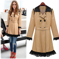 2014 Autumn Winter Women' Pu Leather Trench Lace Sash Double-Breasted Spliced Ladies' Long Casual Coats XK001