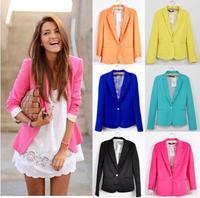 New 2014 Hot Europe America Fashion Women Slim Long sleeve Cotton Blends Regular Single Button Small suit Autumn&Winter Z5